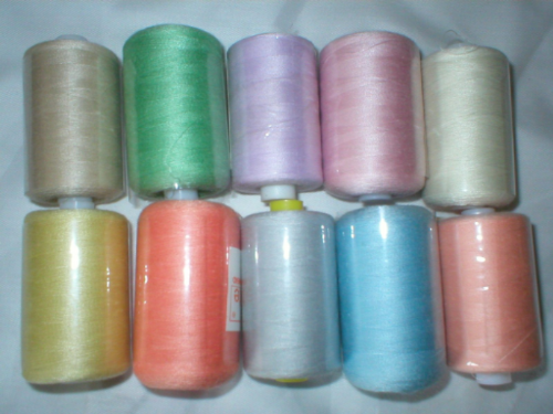 10,000m Polyester Sewing Machine Overlock Thread Pastel
